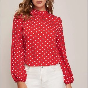 Frill neck red polka dot sleeve top blouse